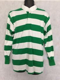 "Stripe Rugby Shirt Polo Mens Long Sleeve Sport Top Size Medium 40"" Chest"