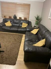 2 x Three brown leather DFS sofas 80 pounds for both