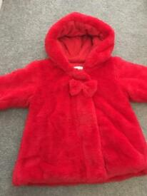 Absorba Faux Fur Girls Red Coat