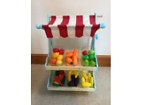Le Van Toy wooden Market Stall & fruit/ veg / accessories
