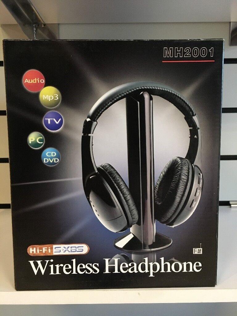 5 IN 1 WIRELESS EARPHONE MH2001 HEADSET HI FI HEADPHONE FOR TV MP3 PC FM RADIO