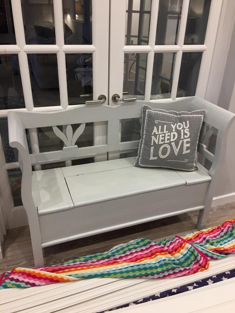 Gorgeous pine painted blue grey bench with storage. Really useful shabby chic nordic