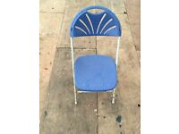 Folding Blue samsonite chairs
