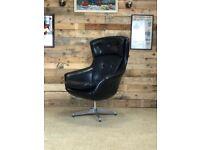 Mid Century, Retro, Vintage Egg Style Chair in Black Vinyl