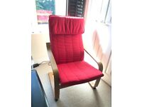 Ikea Poang Chair, Red, never used