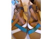 Brand new! Clarks tri coloured leather sandals.