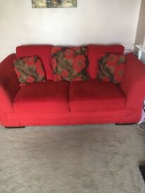 Red two and three sofa for sale 2 seater is also a sofa bed , good condition