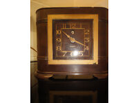 Art Deco bakalite electric mantel clock (working)