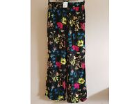 H&M womens flower print trousers size 12 bnwt