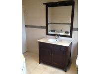 Walnut Bathrom Vanity Unit & Mirror. With Sink & Tap