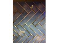 Harmony Pasadena blue Lampas marine patterned tile (random patterns) x21 and 1 x22 plain Lampas Blue