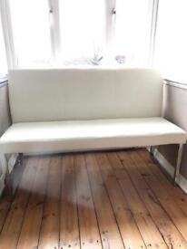 White / cream DWELL faux leather dining bench