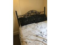 Black Metal Double Bed Frame with Mattress - Collection Only
