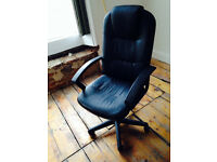 Black Leather Gas-Operated Adjustable Desk Chair