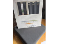 Marks and Spencer Grey SINGLE curtain - Lined Banbury Weave Eyelet Curtain