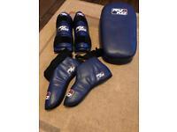 Kick pad with foot pads and shin pads