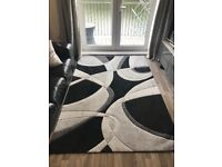 Black & Silver Abstract Rug 12 Months Old