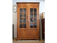 ANTIQUE 19TH CENTURY FRENCH GLAZED ARMOIRE CUPBOARD