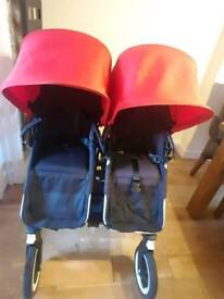 Bugaboo donkey pushchair red and black