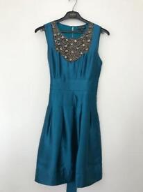 Warehouse Occasion Dress in Teal/Peacock Blu