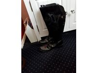 Clarks Black patent leather knee high boots worn once flat heel