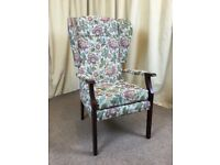 High Wing Back Easy Chair Floral Fireside Armchair