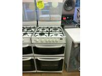 CANNON 55CM GAS DOUBLE OVEN COOKER IN WHITE