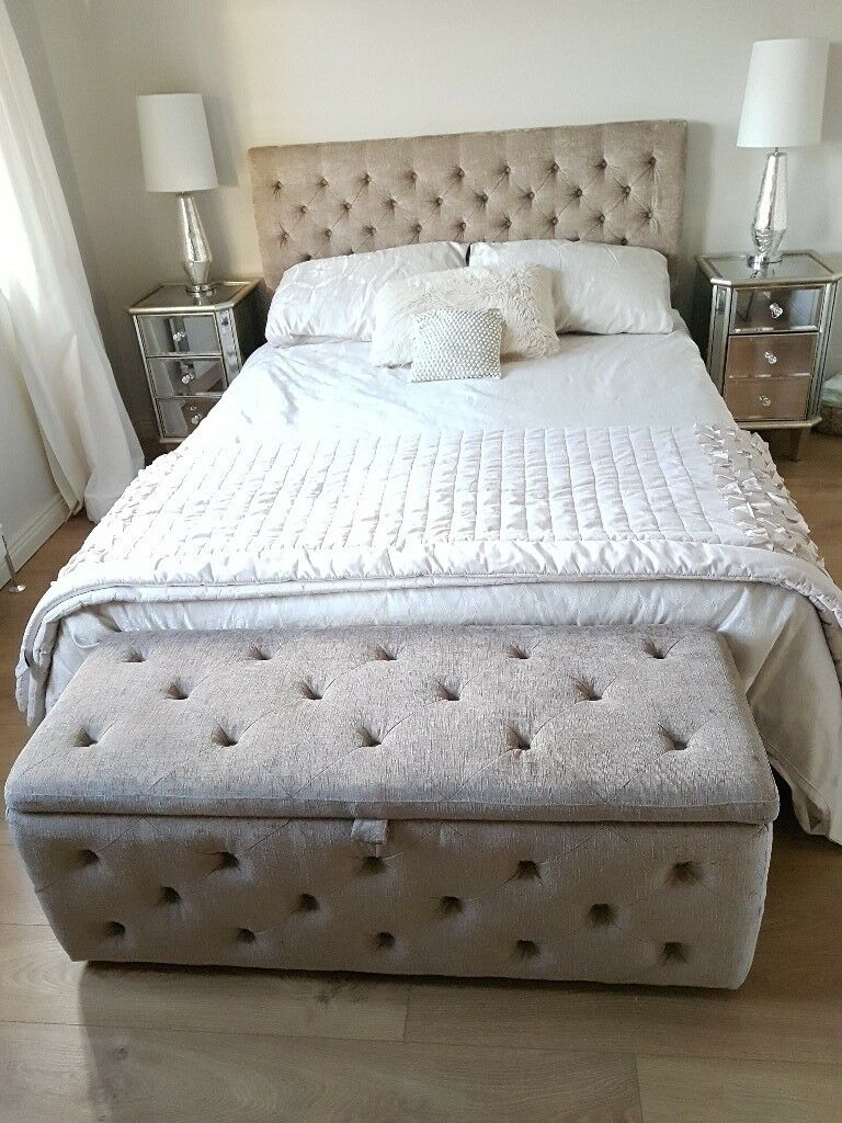Next Bed Amp Ottoman King Size Bed In Soft Velvet Pebble