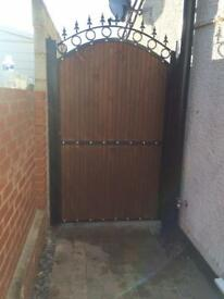 Wood steel metal gate