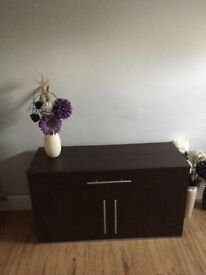 Brown wooden TV stand & matching coffee table