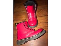 Dr Martens Red patent leather unisex infants boots