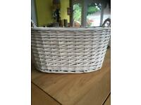 Cream wicker basket