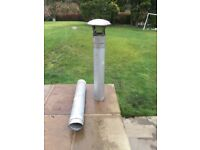 TWIN WALLED IL GAS FLUE PIPE WITH RAIN WATER COWL AND BIRD GUARD