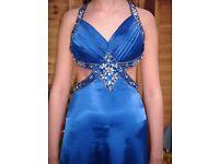 Beautiful Royal blue handmade size 8 formal dress and matching stole