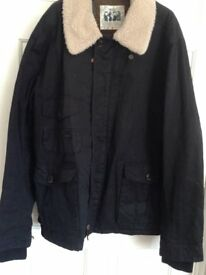 Next Navy Blue Jacket Size XXL With Removable Sheepskin Collar Worn Once Excellent Condition