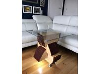 Log wood coffee side table with glass top down lighting