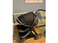 Black Oyster Max pushchair with footmuff & rain cover - from newborn VGUC
