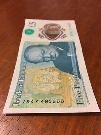 £5 Notes Serial Number AK44, AK45, AK46, AK47, AK48