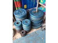 """210kg Metal 1"""" plates, bars, dumbbells & bench"""