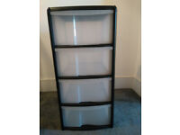x4 Plastic 4-drawer storage units
