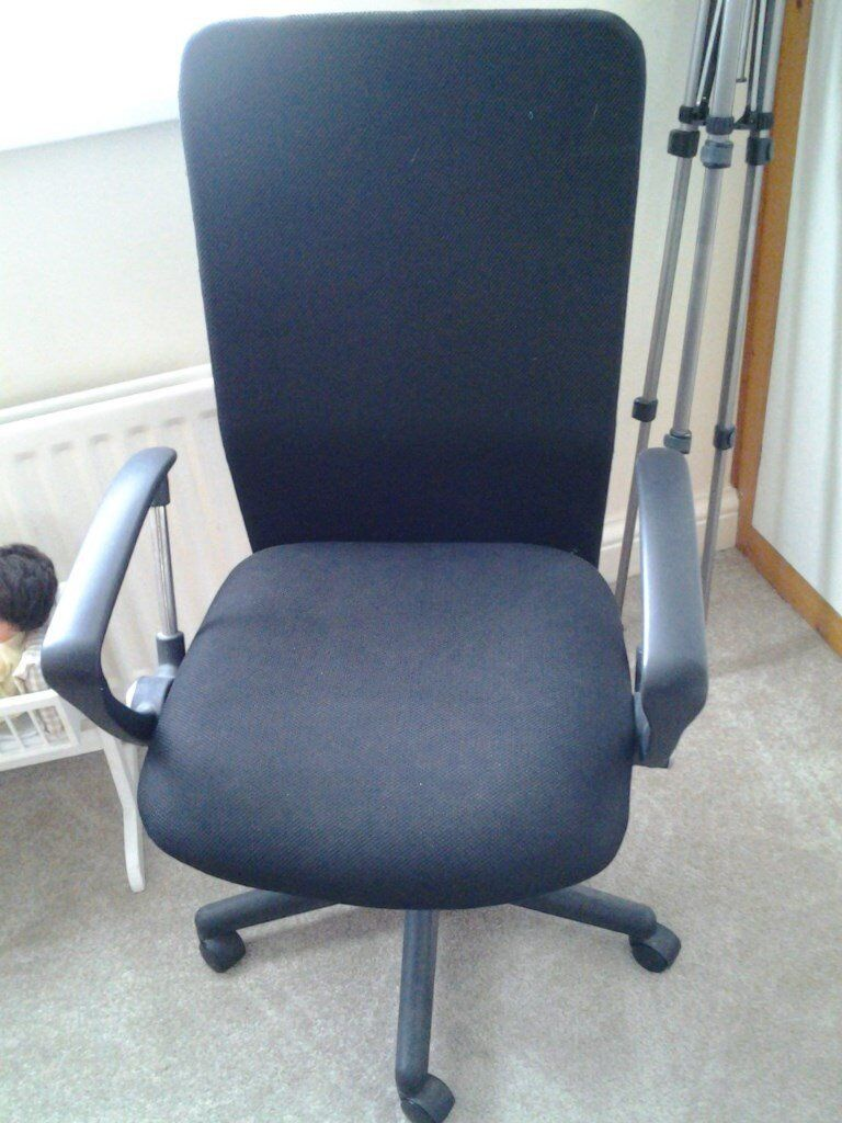 Good condition computer chair...black...from pet and smole free home