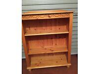 Golden pine book shelves