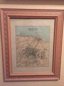 Vintage Ariel map of Newhaven shore & Leith