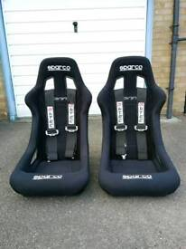 Sparco sprint seats with harnesses