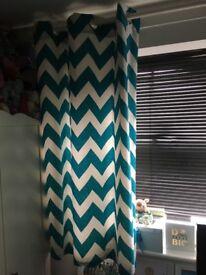 Blue and white chevron curtains