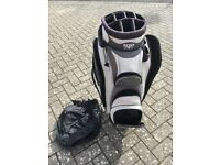 Izzo golf bag for sale - used but all zips working, with cover and padded shoulder strap