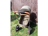 Mothercare Xpedior Pram Pushchair Travel System - Khaki Special Edition Leather