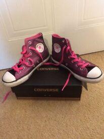 Converse dark pink/purple boots, size 2