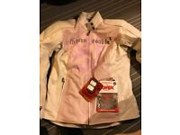 Christmas gift.!!??Leather girls motorbike scooter jacket sz M=10-12 UK.knox to elbow and shoulders