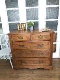 Antique/Vintage solid wood Free Delivery Ldn solid wood chest of 5 drawers